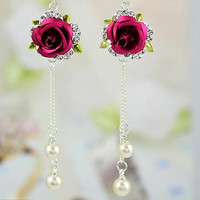 14g dangling 3D gothic red rose flower Austrian crystal cz hand made long beaded belly ring belly button ring navel ring piercing
