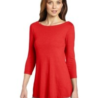 Three Dots Red Women's 3/4 Sleeve Boatneck Swing Top, Mangosteen, Small