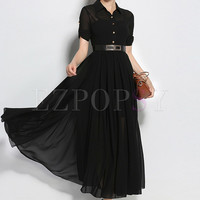 Brief Black Turn Down Collar Three Quarters Sleeve Maxi Dress