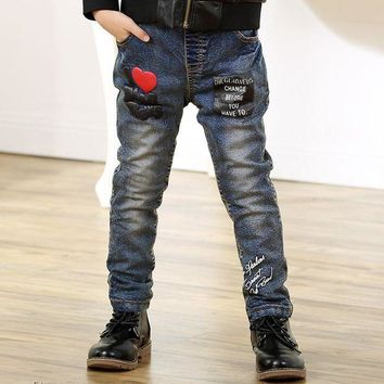 PEAP78W Spring Autumn Jeans for Kids Boy Jeans Slim Spring Denim Casual Trousers Heart Applique Jeans Pants for 4-10Y