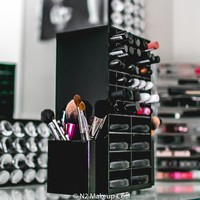 Spinning Acrylic Makeup Organizer Holder for Lipstick Brushes and Powder