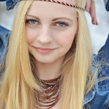 Boho Headband - Red Gold Headband - Adult Boho Headband - Bohemian Headband - Forehead Headband - Hippie Headband - Halo Headband