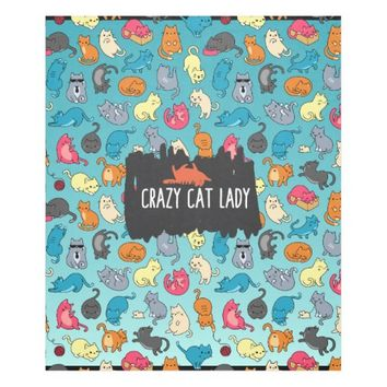 Crazy Cat Lady Cute and Playful Cat Pattern Fleece Blanket