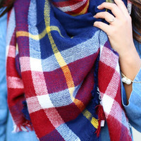 Lucky Duck Pretty in Plaid Blanket Scarf in Navy