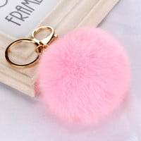 Fashion Rabbit Chain / Fur Ball Cell Phone Car Keychain / Handbag Charm Key Chains Ring Pom Poms Hair Bulb + Pendant