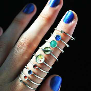 Knuckle Ring Set/ Silver midi ring set/ by JewelryThreeSnails