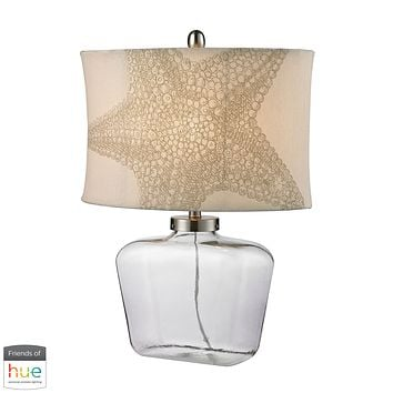 Clear Glass Bottle Table Lamp in Polished Nickel - with Philips Hue LED Bulb/Bridge