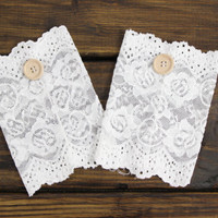Dainty Lace Boot Cuffs, Ivory Lace Boot Cuffs, Button Boot Cuffs, Lace Boot Socks, Wedding Lace Cuffs, Floral Lace Boot Cuffs, Boot Cuffs