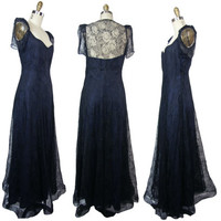 1930s Black Chantilly Lace Gown With Puff Sleeves