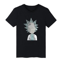 New Rick and morty Geometric 3D Cartoon faucet design print men's suit T-shirt hip hop rap tee shirt Rick and morty