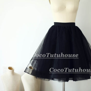 Black Tulle Skirt/Horse Hair Tulle Skirt/Women Tulle Skirt/Short TUTU Skirt/Wedding Dress Underskirt/Petticoat