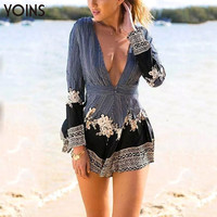 YOINS 2016 New Women Fashion Sexy Deep V Neck Long Sleeve Playsuit Summer Casual Loose Style Jumpsuit with Stripe Floral Print