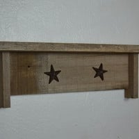 "Cute little rustic wall shelf with stars 18"" wide"