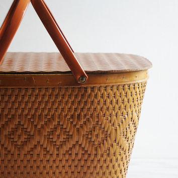 Vintage Picnic Basket, Woven with Handles, Hinged Lid- Free Shipping