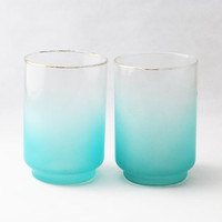 Vintage Blue Ombre Juice Glasses (Set of 2) - Libbey Blendo Frosted Glassses, Gold Rimmed Drinking Glasses, Vintage Dining Cups, 1960s