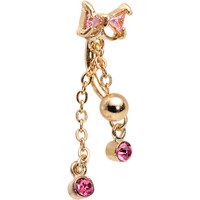 Pink Gem Gold IP Drops Sparkling Bow Tie Top Mount Belly Ring | Body Candy Body Jewelry
