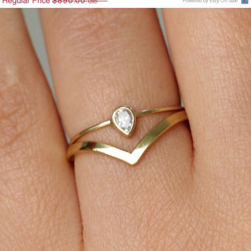 ON SALE Pear Diamond Wedding Set with a Curved Wedding Band - 14k Gold