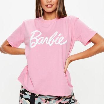 Missguided - Barbie x Missguided Pink Slogan T Shirt