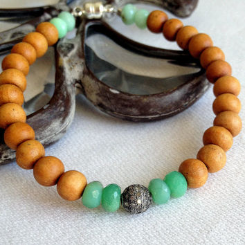 Genuine Pave Diamond Bead and Sandalwood Bead Bracelets, Sapphire Opal Pearl or Chrysoprase Accent Beads, Trendy Chic Stacking Bracelets