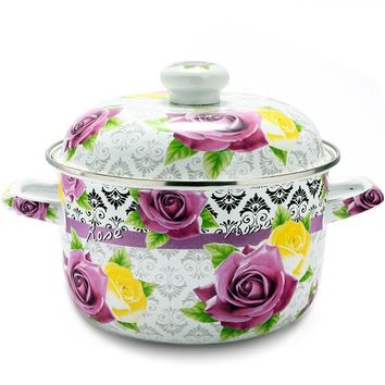 free shipping soup pot Enamel  thick enameled pot rose 4500ml 22cm soup pot general cookware kitchen utensil