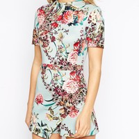 ASOS Skort Playsuit With High Neck In Bloom Print