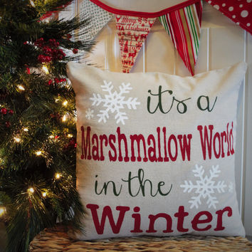 It's a marshmallow world in the winter Christmas pillow cover