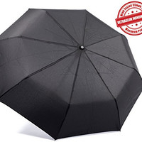 "Kolumbo Travel Umbrella - Proven ""Unbreakable"" Windproof 55MPH - Sturdy, Durability Tested 5000 Times -  Compact, UltraSlim Windmaster Umbrellas, Auto Open/Close - BLACK - Lifetime Guarantee"