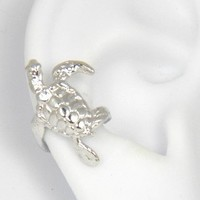 Sterling Silver Turtle Ear Cuff Right Earrring