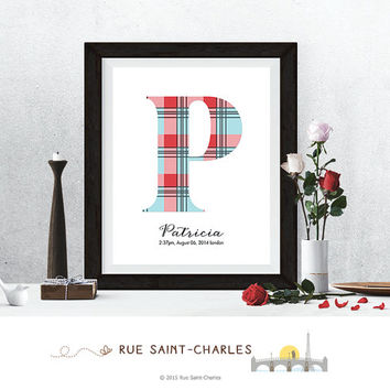 baby girl nursery art, monogram logo, personalized baby gift, baby initial art print, DIY printable art, home decor, nursery decor, wall art