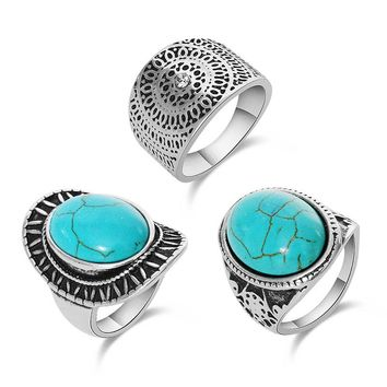 Vintage Punk Ring Sets Fashion Designer Antique Silver Unique Carving Nature Blue Stone 3pcs Midi finger Rings For Women