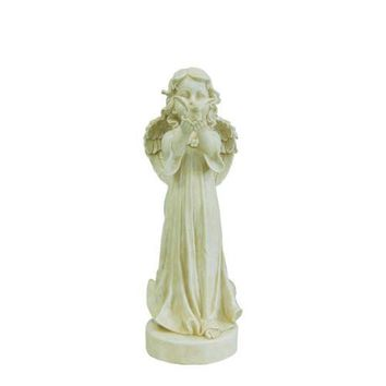 "23.75"" Smiling Angel Releasing a Bird Outdoor Patio Garden Statue"