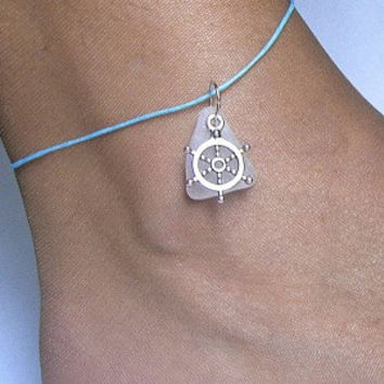 Sea glass anklet. Nautical beach sea glass jewelry