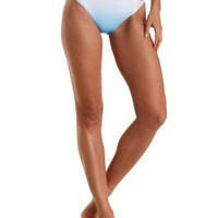 Blue Combo Ombre Cut-Out Bikini Bottoms by Charlotte Russe