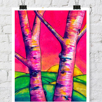 Watercolor birch tree painting - watercolor print - watercolor tree - birch tree painting - 11x14 print - tree watercolor - birch tree art