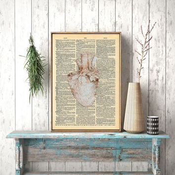 Instant download, Leonardo da Vinci sketch, Vintage Dictionary, da Vinci Anatomy, Anatomical Print, da Vinci Heart, Anatomical Heart