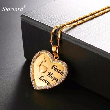 Starlord Engraved Heart Necklace With Bible Verse Faith&Hope&Love Christian Jewelry