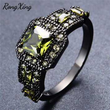 RongXing Square Cut Olive Green Zircon Rings For Women Fashion Jewelry Vintage Black Gold Filled August Birthstone Ring RB1273