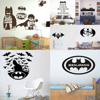 Batman Dark Knight gift Christmas Batman Customized Name Wall Stickers Home Decor Bat Personalised Super Hero Vinyl Decal Mural Wallpaper Graphic for Boys Bedroom AT_71_6