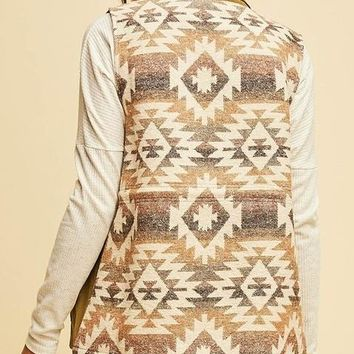 Feelin' Chilly Olive Vest with Aztec Print Back