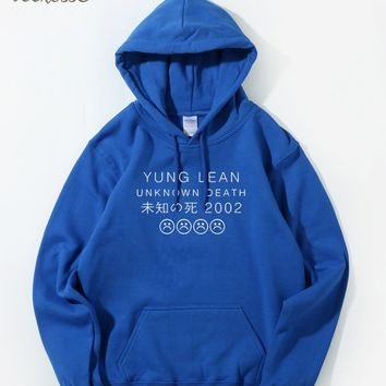 Japan Letter Print Hoodie Men YUNG LEAN UNKNOWN DEATH Sad Boys Sweatshirts Mens Harajuku Hoodies Fleece Warm Hooded Homme Hoody