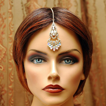 Indian Jewelry, Gold Tikka Headpiece, Crystal Bridal Chain Headpiece, Bollywood Maang Tikka Headpiece, Gypsy Jewelry, Tribal Jewelry