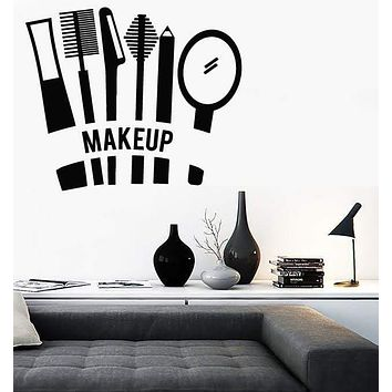 Vinyl Decal Cosmetics Makeup Beauty Salon Woman Girl Room Wall Stickers Mural Unique Gift (ig2732)