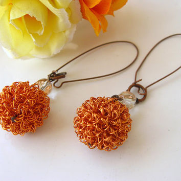 Copper Wire Wrapping Ball Earrings