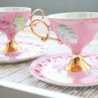 Antique 1940s-1950's Lustreware Pink and Gold Japanese Tea Set / Bridal Gift / Tea Party / Tea Set / Pink Footed Cups