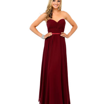 Burgundy Chiffon Strapless Sweetheart Corset Long Gown 2015 Prom Dresses
