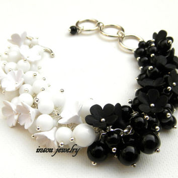 Black white jewelry - Ombre jewelry - Black white bracelet - Flower jewelry - Forget me not