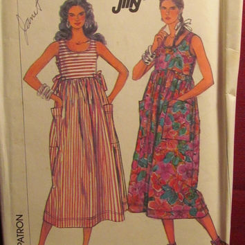 SALE Uncut 1980's Simplicity Sewing Pattern, 8067! 12-14-16-18/Medium/Large/Hippie Casual Dresses/Sleeveless/Maternity/Jumpers/Summer/Spring