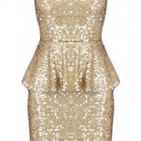 Sparkling Celebration Sequin Sweetheart Peplum Dress in Golden | Sincerely Sweet Boutique