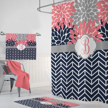 Coral Navy SHOWER CURTAIN, Flower Chevron Shower Curtain, Girl Custom Personalized, Girl MONOGRAM Bathroom Set, Bathroom Towel Mat Set