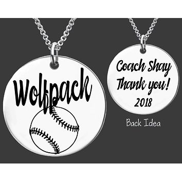 Softball Coach Necklace | Personalized Coach Necklace